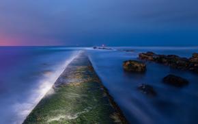 wieczr, zmierzch, Anglia, zatoka, Zjednoczone Krlestwo, morze, wybrzee, kamienie, mech, wiata, w oddali, niebo, lazur