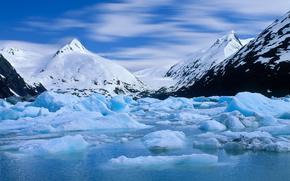 Portage Glacier, Alaska, lodowiec, Alaska, Gry, woda, nieg, wierzchoki