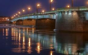 St. Petersburg, bridge, Casting, night, lights