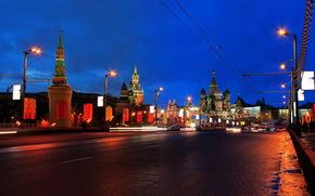 Москва, Мост, Дорог, Россия, Большой Москворецкий, Ночь
