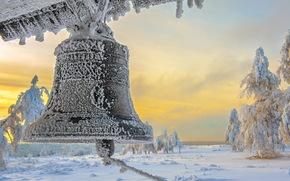 колокол, снег, пейзаж