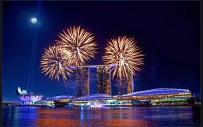 Singapur, Ciudad, noche, luces