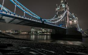 Лондон, ночь, река, мост, огни