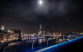 Лондон, ночь, река, луна