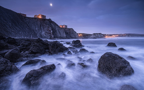 Spain, Bay of Biscay, coast, stones, rocks, houses, lights, lighting, night, moon, blue, sky