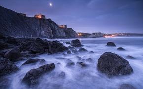 Испания, Бискайский залив, берег, камни, скалы, домики, огни, освещение, ночь, луна, синее, небо