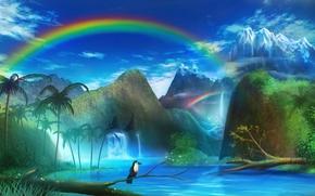 арт, monorisu, пейзаж, птица, река, горы, радуга, пальмы