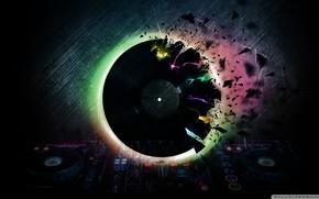 disk, neon, record