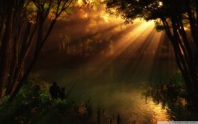 Fluss, Angeln, Sonnenlicht