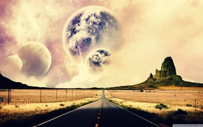 Planet, canyon, road