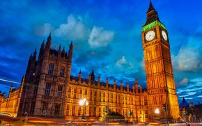 westminster palace, Palace of Westminster, Big Ben, Big Ben, London, London, england, England, Great Britain, United Kingdom, city, evening, sky, clouds, road, exposure, lights