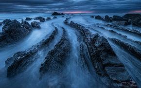海, 岩石, 夜, 景观