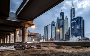 city, bridge, home