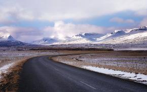 поле, дорога, пейзаж