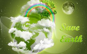 Salva, Terra, Proteggere, terra, verde, terra, arcobaleno, albero, luna, mele, mela, pianeta, spazio, Photoshop, kallazh