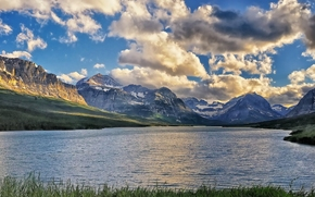 lake sherburne, glacier national park, montana, Montana, lake, Mountains, clouds