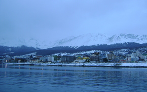 ushuaia, argentina, patagonia, sea, city, sunset, snow, lights, village