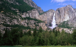 Mountains, waterfalls, landscape, rock