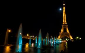 eiffel, city, water, lights, fountain, night