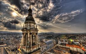 венгрия, город, дома, небо, облока