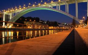 португалия, ночь, мост, огни