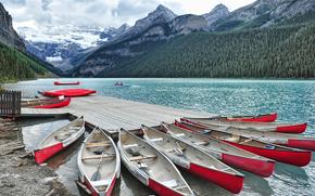 lake louise, alberta, canada, Озеро Луиза, Альберта, Канада, пристань, горы, каноэ, пейзаж