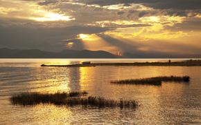горы, озеро, лодка, закат, золотой
