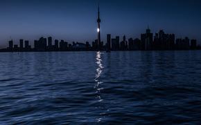 Toronto, notte, lago, percorso al chiaro di luna
