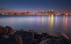 Canada, lake, stones, night, city, Toronto, lights, reflection