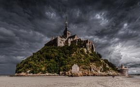 Франция, остров, Мон-Сен-Мишель, аббатство, небо, тучи, отлив