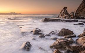 залив, скалы, камни, рассвет