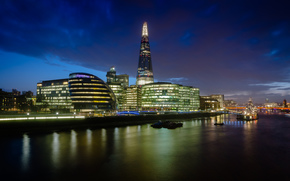 citt, notte, fiume, semaforo, Londra