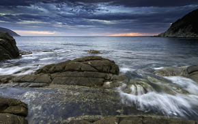 sea, bay, coast, stones, clouds