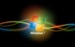 windows 7, Black Background, neon