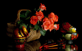 Flowers, Wooden spoons, dishes, Khokhloma