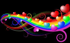 радуга, сердечки, чёрный фон