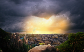 закат, небо, город, облока
