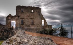 море, мост, старое здание, стена, руины