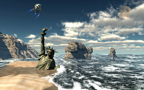 sea, coast, Statue of Liberty, satellite