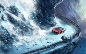route, avalanche, neige, brouette, briser