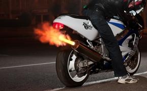 Suzuki, GSX-R600, Suzuki, dzhikser, motocicletta, fuoco, motociclista, casco, auto, macchinario, Auto