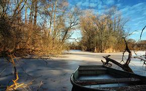 bosque, Los rboles, lago congelado, barco, paisaje