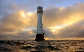 Маяк, Шотландия, Небо, bell rock angus, Облака, Природа