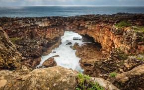 море, скалы, волны, потоки, горизонт, лучи, солнечные