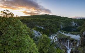 parc national, Les lacs de Plitvice, Croatie, voir, lac, cascades, Montagnes, arbres, matin