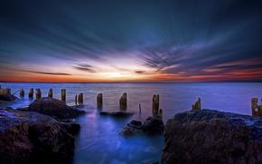 sunrise, ocean, landscape, nature, dawn