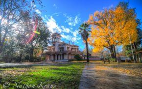 autunno, parco, edificio, traccia, alberi, paesaggio