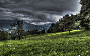 clouds, Mountains, field, Trees, landscape