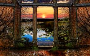 puesta del sol, lago, columna