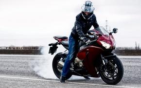 Honda, CBR1000RR, motocicletta, motociclista, casco, GoPro, Scorpione, fumare, strada, auto, macchinario, Auto